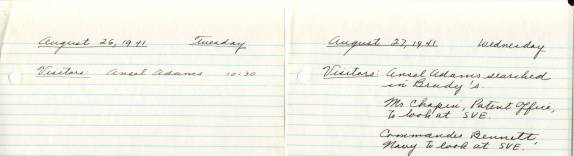 """From notebook """"Uncurrent 1941-1942 Visitors Notes Etc""""  in Record Group 64, P entry 32"""