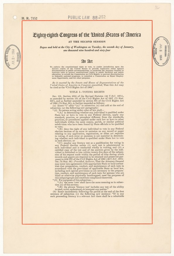 Civil Rights Act of 1964, National Archives Identifier 299891