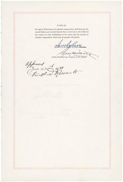Last page of the Servicemen's Readjustment Act (Public Law 78-346), approved July 22, 1944. National Archives, General Records of the United States Government.
