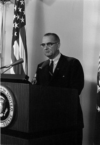 """""""Midnight Address"""" on Gulf of Tonkin incidents in Vietnam, 08/04/1964. (Lyndon Baines Johnson Presidential Library and Museum, National Archives)"""