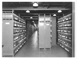 Photograph of Veterans Bureau Records in Stack Areas 06/12/1936. (National Archives Identifier: 7820633) The records of the Veterans Bureau were among the first groups of records to be transferred to the National Archives. At the time this photo was taken, the National Archives had accessioned 58,800 cubic feet of records, mostly from the Veterans Bureau and the U.S. Food Administration.