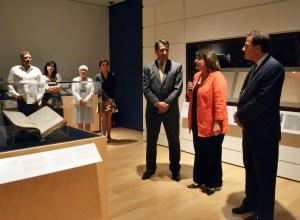 Governor Brian Sandoval and Curator Ann Wolfe at Nevada Museum of Art press conference, July 29, 2014. Courtesy Nevada Museum of Art.