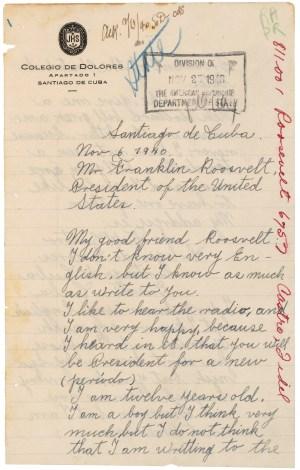 Letter from Fidel Castro to President Franklin D. Roosevelt, 11/06/1940. (National Archives Identifier: 302040)