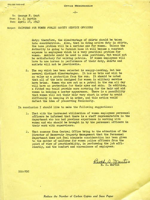 Office Memo to TVA Employees regarding Uniforms For Women Public Safety Service Officers, April 17, 1943. (National Archives at Atlanta)