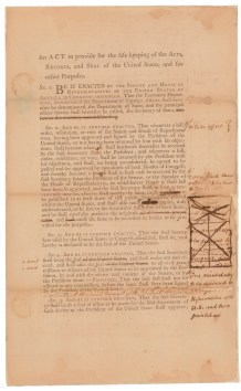 Records and Seals Act, as introduced in the Senate on August 31, 1789. It was signed into law on September 15, 1789. (Records of the U.S. Senate, National Archives)