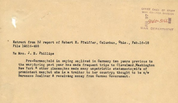 Extract from a Justice Department intelligence report, February 16-18, 1918. (Records of the ..., Record Group ...)