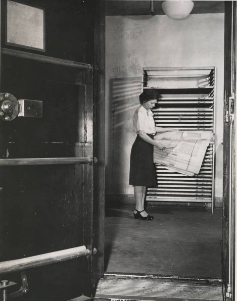 """""""Records in Humidifying Vault"""" photo by Jackie Martin, International News Photos, 1946. National Archives 64-NA-466"""