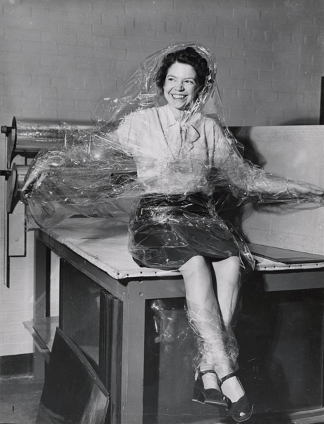 """""""Acetate Foil for Lamination"""" photo by Jackie Martin, International News Photos, 1946. Nationa Archives 64-NA-464"""
