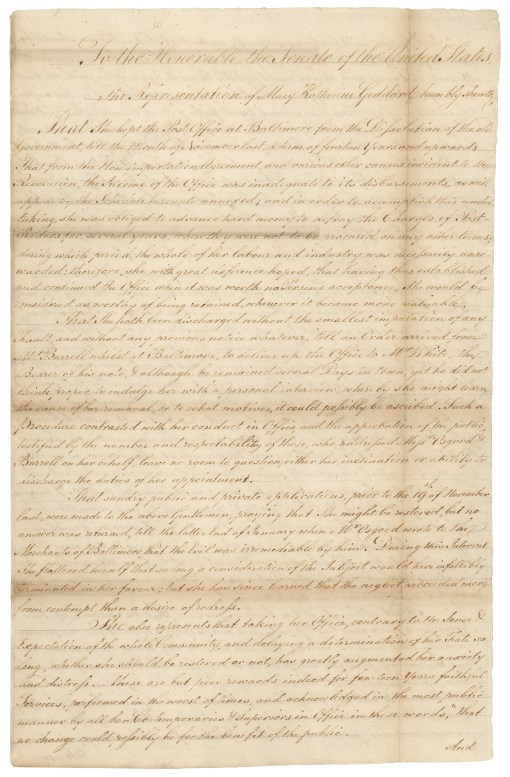 Petition from Katherine Goddard, January 29, 1790. (Records of the U.S. Senate, National Archives)