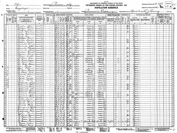Page from the 1930 Census (McNamara is on line 48), April 3, 1930. (Records of the Bureau of the Census, National Archives)