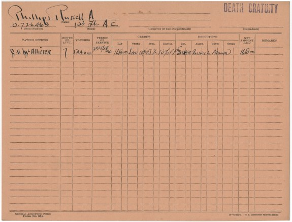 Phillips' death gratuity, July, 1944. (National Archives at St. Louis)