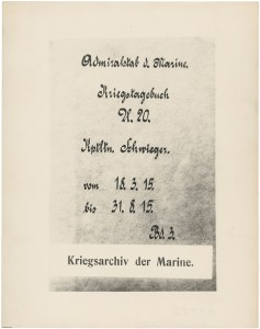 Cover page from the U-20's log book, in the original German, 1915. (Archives Identifier 785591)
