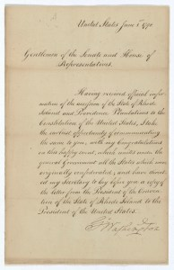 George Washington's letter notifying Congress that Rhode Island had ratified the Constitution, June 1, 1790. (Records of the U.S. Senate, National Archives)