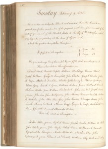 Vote in House Journal on motion to move seat of government to Philadelphia, February 9, 1808. (Records of the U.S. House of Representatives, National Archives)