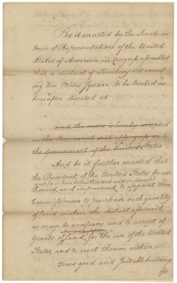 The Residence Act, introduced May 31, 1790. (Records of the U.S. Senate, National Archives)