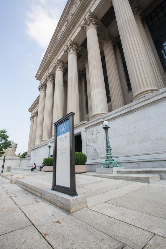 Permanent ramp at the entrance on the Pennsylvania Avenue side of the National Archives Building, July 28, 2015 (Photo by Jeff Reed, National Archives)