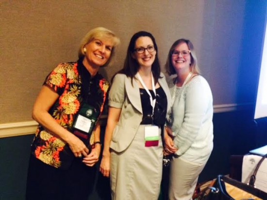 Archivists Daria Labinsky, Ashley Mattingly, and Theresa Fitzgerald at the National Genealogical Society's Family History Conference in May.