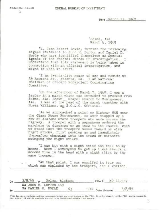 """Statement of John Lewis regarding Selma's """"Bloody Sunday,"""" March 8, 1965. (Records of the Federal Bureau of Investigation, National Archives)"""