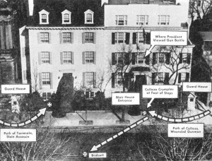 """""""Diagram of assassination attempt on President Truman at Blair House,"""" November 2, 1950. (International News Photo, Harry S. Truman Library & Museum, National Archives)"""