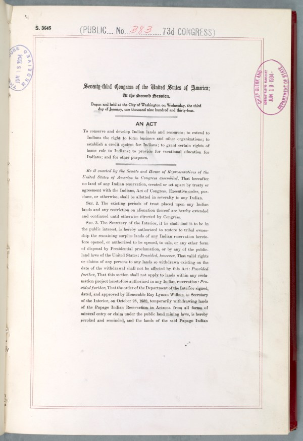 The first page of the Indian Reorganization Act of 1934. (National Archives Identifier 7873515)