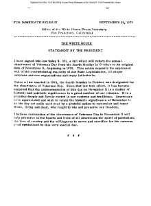 Gerald R. Ford Administration White House Press Releases