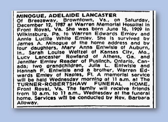 Adelaide Minogue Death Notice, Washington Post, 1987 (2)