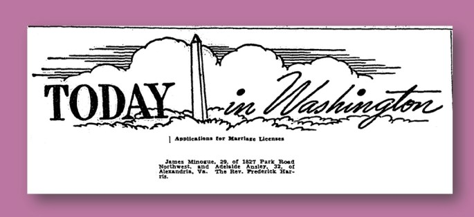 Announcement of Minogue Marriage License - Washington Post, June 4, 1942