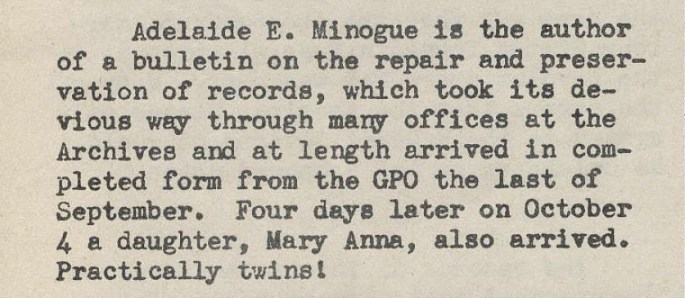 Publication of Minogue's Bulletin and Birth of Daughter - Archiviews, 09-10 1943, p. 10