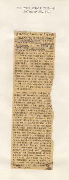 Review of Bulletin, New York Herald Tribune, November 28, 1943 (National Archives Identifier 7582964)