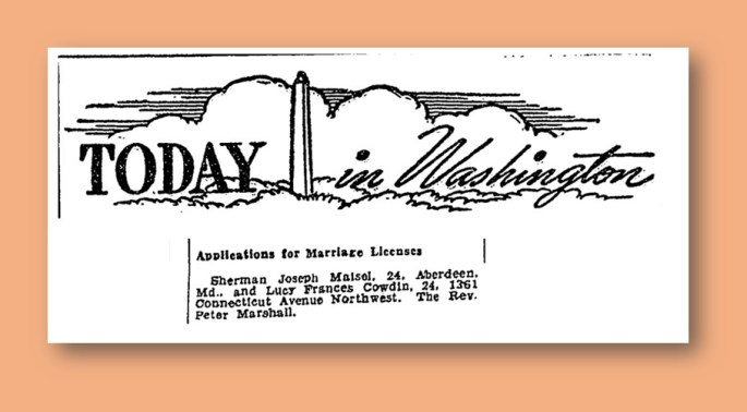 Cowdin and Maisel Wedding License Announcement - Wash. Post, Sept. 22, 1942