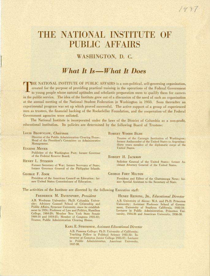 NIPA Information Brochure 1937 page 1