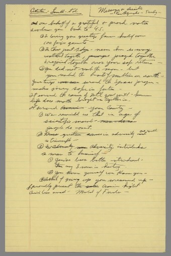 Nixon's yellowpad notes re: Apollo XIII Medal of Freedom speech, April 18, 1970. (Richard Nixon Presidential Library and Museum, National Archives)