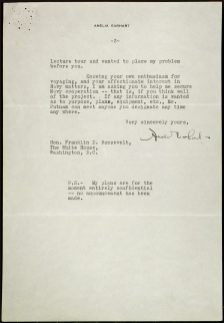 Letter from Amelia Earhart to President Roosevelt regarding her world flight, 11/10/1936. (National Archives Identifier 6705943)