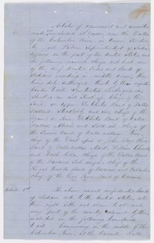 Ratified Indian Treaty 293: Treaty between the United States and the Walla Walla and Wasco (Confederated Bands of Middle Oregon) Indian signed near the Dalles, Columbia River, Oregon Territory June 25, 1855 RG 11 General Records of the U.S. Government