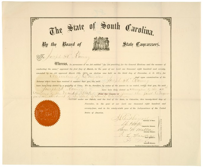 Credentials of Joseph Rainey of South Carolina11/23/1874 RG 233 12389_2006_001