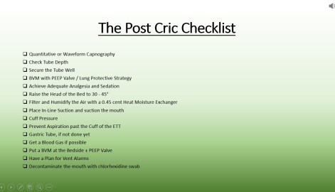 Post Cric Checklist