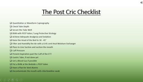 Post Cric Checklist