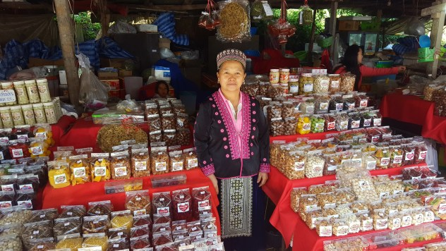 A northern woman with her dried fruits.