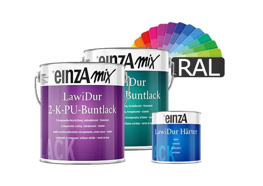 einzA mix LawiDur 2-K-PU-Buntlack RAL-Farben Stammlack und Härter 3L