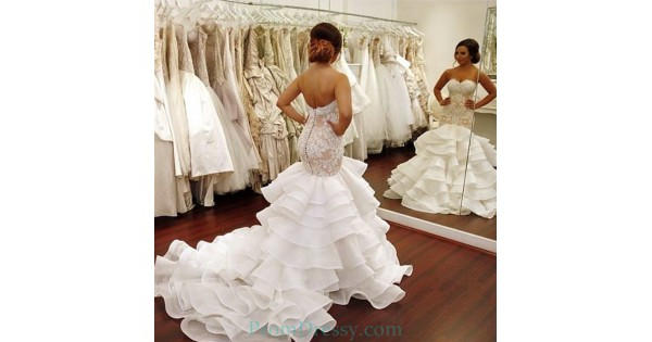 Button Backs Lace Bodices Ruffled Mermaid Wedding Dress