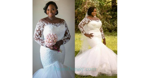 Tulle Lace Appliqued Plus Size Mermaid Wedding Dress With
