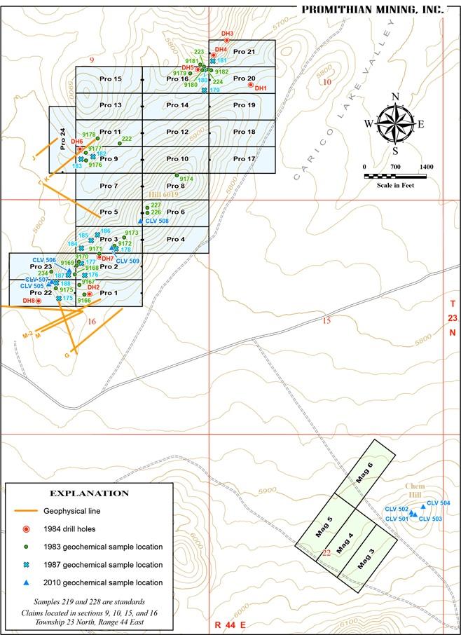 A map and claim to mine Carico Lake
