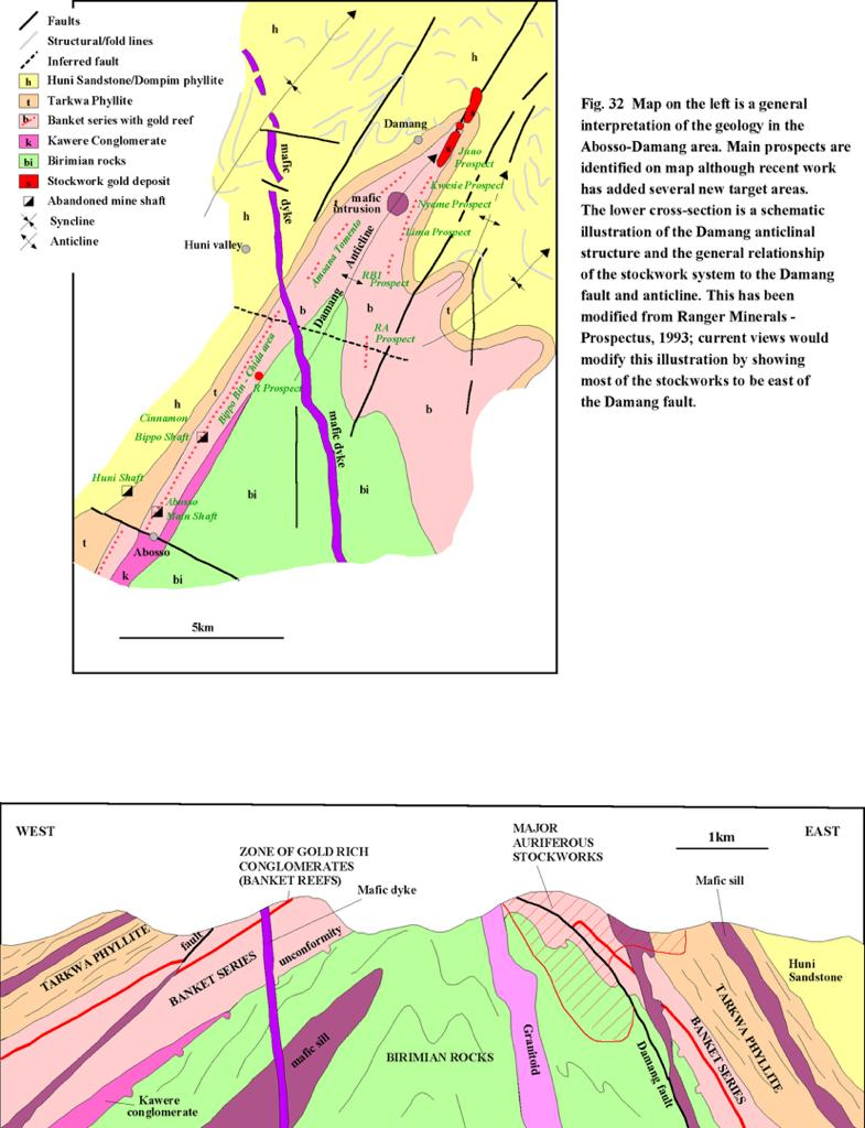 Map is a general interpretation of the geology in the Abosso-Damang area.