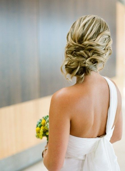 loose updo. One shoulder.