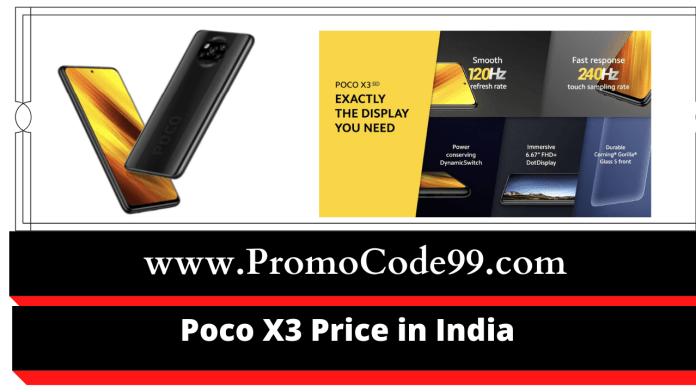 Poco X3 Price on Flipkart & Amazon in India