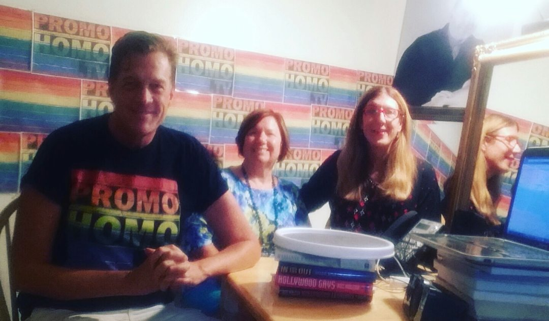 Nicholas Snow with Annie and Laura Meeks in the PromoHomo.TV Studio, August 17, 2016.