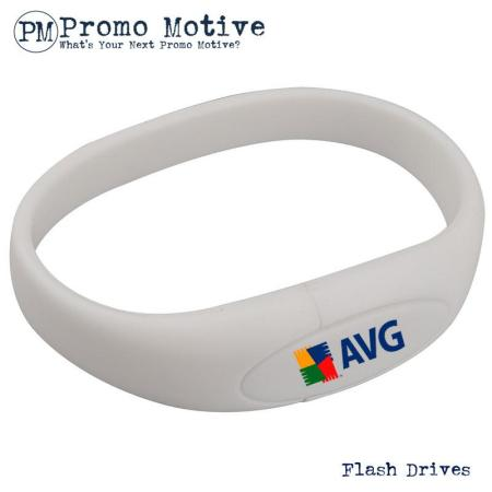 005A White Wristband Bracelet USB Flash Drive.