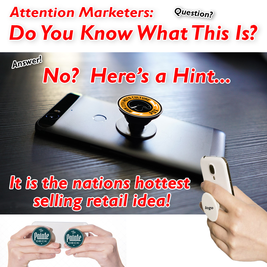 Pop popsocket phone stand and grip flyer for tradeshow and promo marketing