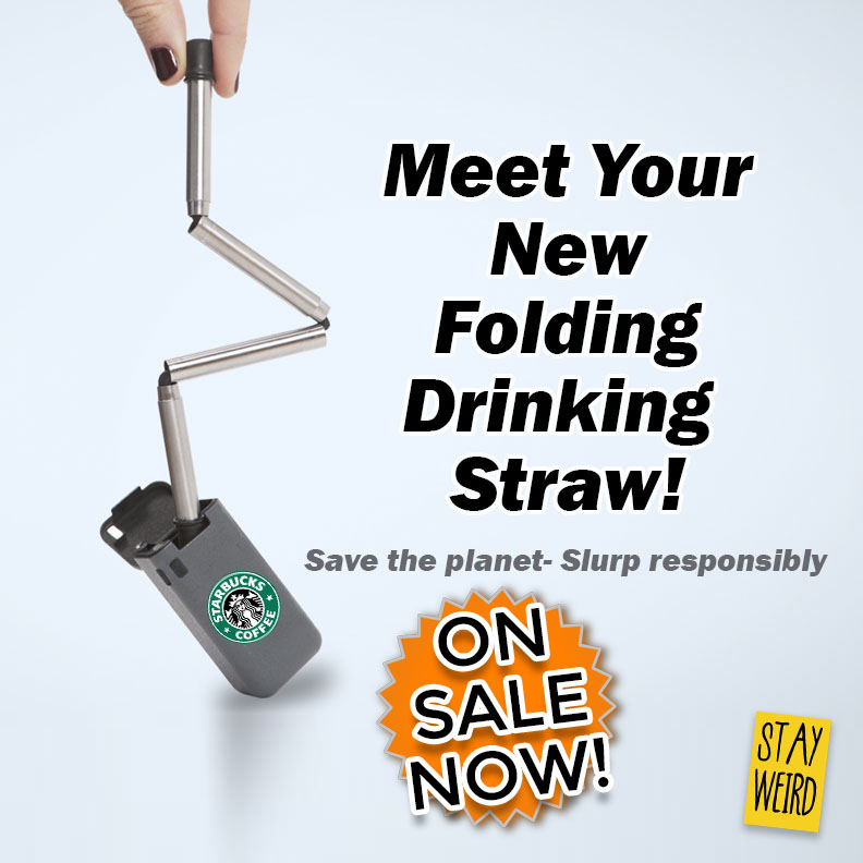 Get your logo on a folding collapsible drinking straw. Get eco friendly with a folding reusable drinking straw for marketing and b2b promotional products.