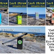 Folding reusable drinking straw for your logo or promotional marketing